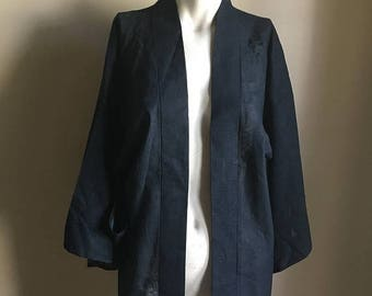 SUMMER SALE 70s 60s Vintage Sheer Blue Japanese Kimono • Open Jacket Kimono