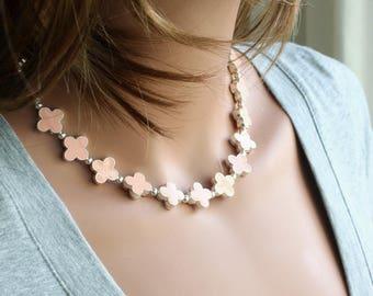 Pink Flower Necklace - Chunky Necklace - Quatrefoil Necklace - Celebrity Inspired - Four Leaf Flower Necklace - Statement Necklace