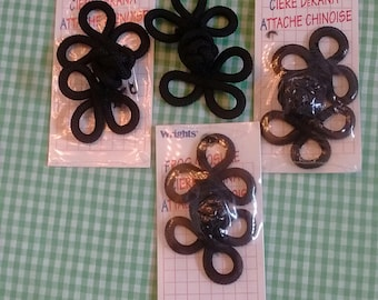 4 Vintage Black Frog Closures, Asian Style Buttons, by Wrights
