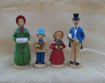 Vintage Christmas Caroler Family, 4 Figurines, Classic Holiday Decor, Quartet of Carolers, Decorations