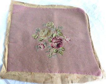 Vintage Pre-worked Needle Point Canvas -Floral Bouquet Roses 15x16