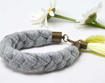 TASSEL bracelet, cotton  bracelet, summer accessories, braided bracelet jersey, gray bracelet with tassel, textile bracelet, minimalist