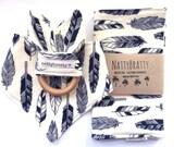 Black and Ivory Feathers - Baby Bib - Bibdana - Burp Cloth - Teething Ring - Gift Set - Southwest Style - Tribal Style - Boho