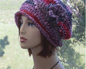 Slouchy Womens Hats Crochet Slouch Beanie  Roll Up Brim Hat Chemo Hat  Winter Fall  Slouchy Hats  Accessory Detachable Flower