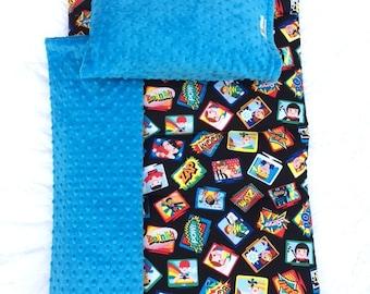 SUPERHERO Quilted PROMO Nap Mat  89.00 Machine Washable Nap Mat Daycare Nap Mat Janiebee Nap Mat Boys Superhero Nap Mat