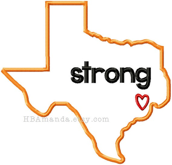 TEXAS STRONG embroidery bath or kitchen hand towel  - Choose thread colors for state of texas