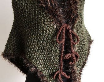 Outlander Inspired Fichu Shawl Forest Green Color Wool Acrylic Knitted Wrap Stole Poncho Cape with Faux Fir Trim and Brown Leaf Ties
