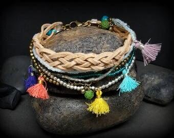 Boho Style Tassel Bracelet |  Tassel Jewelry | Leather Bracelet | Lava Bead Charm | Triple strand Bracelet | Bohemian Style | Gypsy Wear