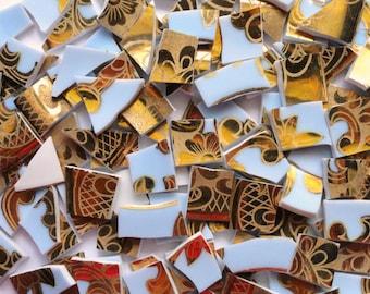 100 Hand Cut Blue and Gold Vintage Tiles//Broken Dish Pique Assiette//Craft Mosaic Supplies
