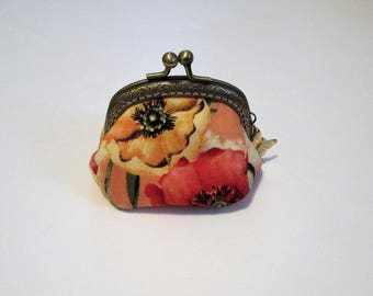 Red and Yellow Poppy Coin Purse, Bags and Purses, Small Coin Purse, Floral Coin Purse, Coin Purse, Change Purse, Pouches & Coin Purses