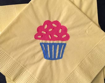 Cupcake Paper Cocktail /Luncheon/ Dinner Napkins - Yellow, Red and Blue