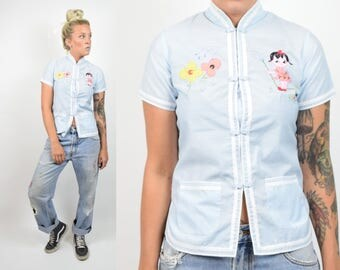 VTG 1960s Traditional Chinese Hand Stitched Kawaii Pastel Embroidered Lightweight Cotton Short Sleeve Women Top Gardener Girl Novetly Rare S