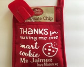 Thanks for making me one smart cookie pot holder, teacher appreciation gift, smart cookie hot pad, personalized hot pad for teacher