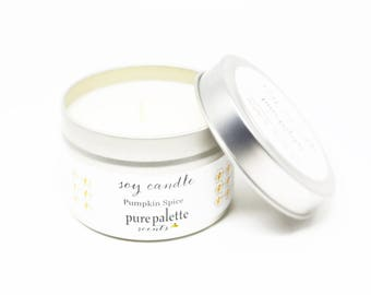Soy Candle Pumpkin Spice Candle Travel Tin Candle Silver 4 oz Scented Candle Gift Drop Shipping Made in Virginia