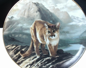 Vintage Collector Plate 'The Cougar' Limited Edition, Hand Painted Plate, Artist-Signed, Charles Frace, 1991