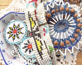 Vintage Jewelry Lot - Seed Bead Necklaces - Native American Style - Eagle - Star - Choker Seed Beads - Repair - Wear D113
