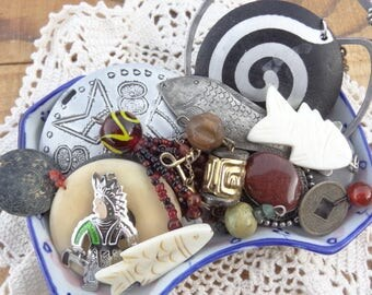 Vintage Jewelry Lot -Berebi - Spiral - Fish Pendants - Aztec Findings - Symbols - Tokens - New Year - Cool Metal Jewelry - Lot - D248