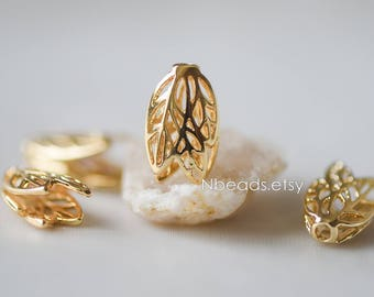 10pcs Gold Flower Bead Caps 16mm, Gold plated Brass Tulip Tassel Caps, Lead Nickel Free (GB-110)