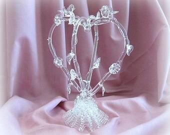 Wedding Cake Topper Heart Wedding Cake Topper Glass Heart Cake Topper Love Bird Cake Topper Bridal Cake Topper Wedding Caketopper Crystal