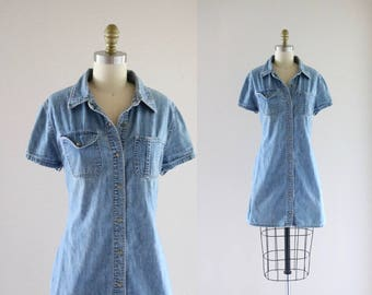 chambray shirt dress / m