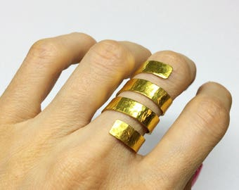 gold ancient greek ring big gold statement ring gold plated silver spinning around armor ring gold knuckle ring gold adjustable ring