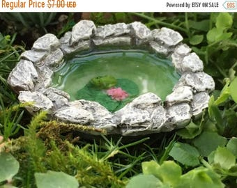 SALE Micro Mini Frog Pond, Fairy Garden Accessory, Garden Decor, Miniature Gardening, Topper, Stone Pond with Frog