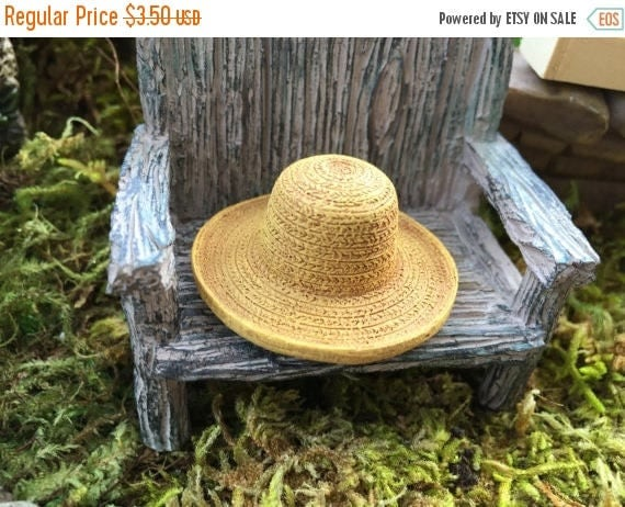 ON SALE Miniature Hat, Garden Straw Look Hat, Dollhouse Miniature, Miniature Garden, Fairy Garden Accessory, Mini Straw Hat, Style 8609
