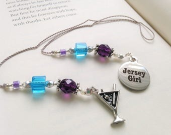 New Jersey Beaded Bookmark Girlfriend Gift-Jersey Girl Charm Silver Martini Girls Night Out Summer Shore Book Thong Reading Lover NJ State