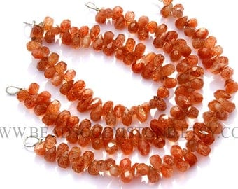 Semiprecious Stone, Sunstone Faceted Drops (Quality A+) / 4.5x6 to 5.5x9 mm4.5x6 to 5.5x9 m / 18 cm / SU-039