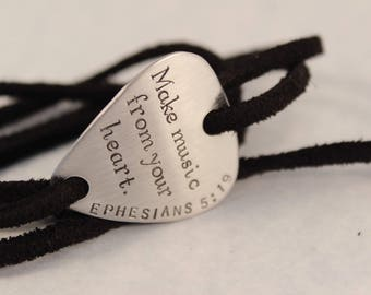 Make Music From Your Heart - Ephesians 5:19 - Hand stamped Guitar Pick leather wrap bracelet - great gift for musicians, music lover