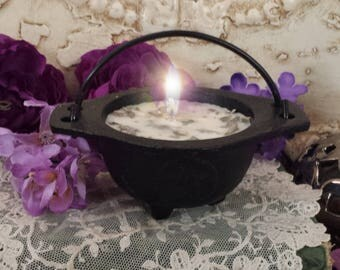Pentacle Cast Iron Cauldron with Candle, White Sage Cauldron Candle, Smudging Candle