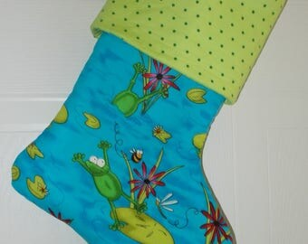 Happy Frogs in Pond Honey Bee Hand made Lined Stocking