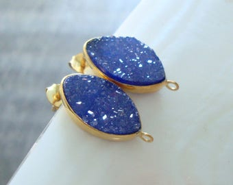15x10mm, London Blue Sapphire blue Tear Drop Druzy Drusy Crystal Gold Vermeil Sterling Silver Ear Post and ear nuts, b1