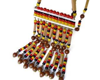 Vintage Tribal Necklace, Glass Beads, Wood Beads, Fringe Necklace, Statement Necklace, Boho Jewelry, Vintage Jewelry