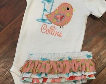 Birthday Set- Bird bodysuit set- Ruffled Diaper Cover set