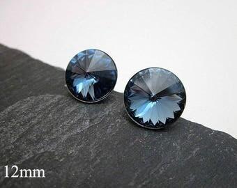 Blue Post Earrings -- Denim Blue Studs -- Denim Blue Crystal Earrings -- Medium Blue Stud Earrings -- Denim Swarovski Studs -- Blue Studs