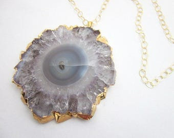 Healing Jewelry for Women -- Large Gemstone Pendant Necklace -- Large Amethyst Jewelry -- Purple Healing Pendant --Healing Crystals & Stones