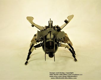 Welded Steel Industrial Steam Sculpture - Steampunk insect