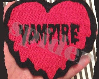 Vampire Heart Iron on Patch  Embroidered Embroidery  Spooky Patches Iron on Patch Love Drippy Heart Vampires