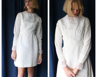 1960s Mini Dress White Modern Bride Twiggy Mod Sixties Lace Bib Dolly