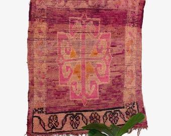 Vintage Moroccan Rug / Boujaad Rug / Small Moroccan Rug / Pink Moroccan Rug / Ombre Rug / FREE US SHIPPING
