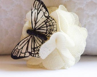 Small Rustic White Burlap Hair Flower with White Monarch Butterfly Clip
