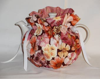 Pretty Floral on Burgandy Reversible  6 Cup Teapot Cozy