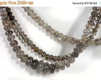 ON SALE Tourmalinated Quartz Rondelles Beads Smooth Tourmalated Rutilated Brown and Black Needles Earth Mined - Choose Length and Size