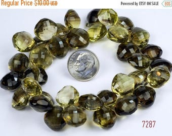 ON SALE Bicolor Quartz Cushion Beads Lemon and Smoky Quartz Cushion Cut Puffed Pillows Chiclets Nuggets - One Matched Pair - 14 x 14mm