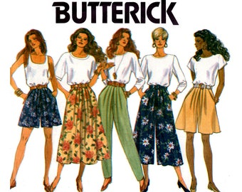 Butterick 6075 Womens Pleated Skirt Culottes Pants & Shorts with Pockets 90s Vintage Sewing Pattern Size 12 14 16 UNCUT Factory Folded