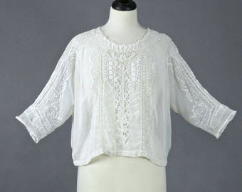 1920s Blouse, Vintage 20s Embroidered Lace Blouse, Antique Edwardian White Bohemian Top, Mixed Lace Top