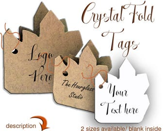Tags, Crystal Fold Tags, Gift Tags, Packaging, Jewelry Tags, Fold Tags, Party Tags, Party Tags