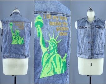 Lady Liberty Embroidered Denim Vest Jacket / Statue of Liberty I Lift My Lamp Beside the Golden Door Resist / Jean Jacket Embroidery