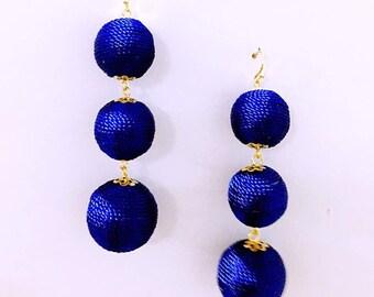 Blue Cord wrapped Les Bonbon bon bon Earrings 3 Balls Hanging